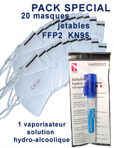 FIPCENTER-Pack 20 masques jetables FFP2 KN95 + Vaporisateur solution hydro alcoolique-PACK-MASQUEKN95-VAPO